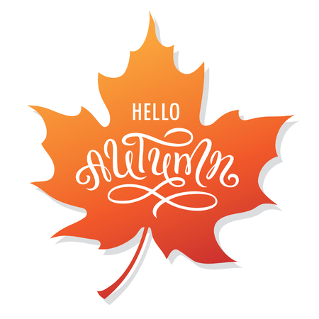 Hello autumn hand drawn brush lettering in a shape of maple tree leaf. 向量圖像