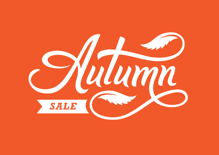Autumn sale banner with hand drawn text and leaves. Elegant retro style lettering.