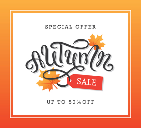 Autumn sale banner design with hand drawn brush lettering, maple leaves and tag illustration.