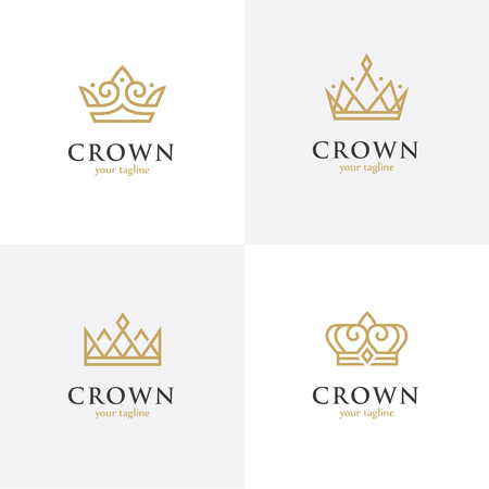 Four linear crown icons 向量圖像