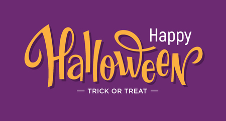 Happy Halloween hand drawn lettering for banner, invitation or greeting card design. Text illustration on purple background.