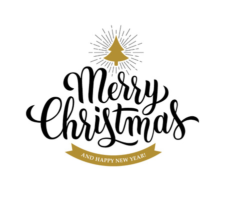 Merry Christmas brush pen modern calligraphy text on white background. Hand drawn lettering for xmas banner or greeting card design.