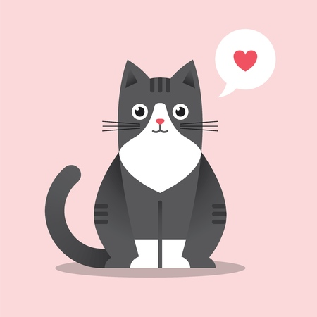 Cute sitting cat illustration in flat style with bubble and heart shape. Happy black kitten. Funny love symbol.