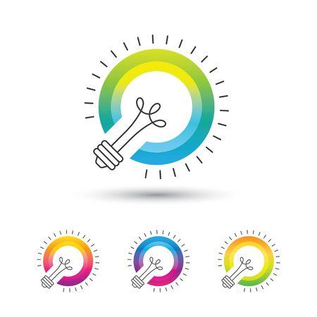 Bright colorful light bulb logo set.