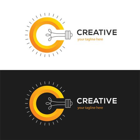 Logo with letter C and light bulb. 向量圖像
