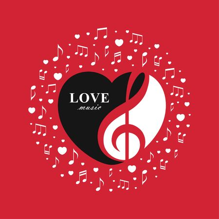 Vector illustration with treble clef inside the heart shape on red background. Love music design concept for Valentines Day concert, romantic playlist cover, radio banner, musical logo.