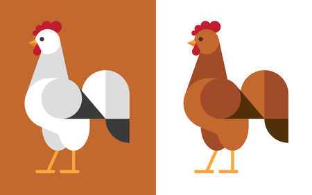 White and brown rooster illustration. Cock flat icon.