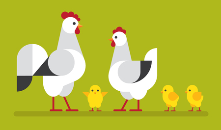 Happy, cute chicken family flat illustration. Hen, cock and chick vector icon set.