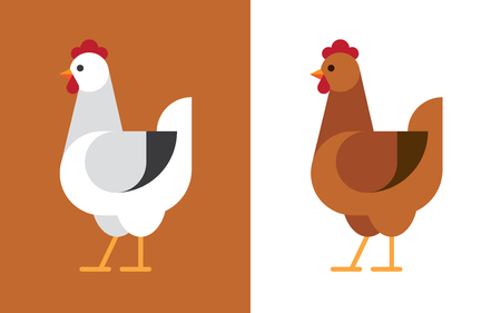 Hen illustration in white and brown colors Chicken flat icon.