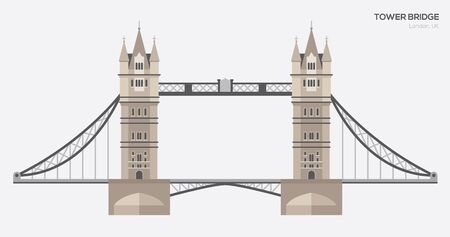 London Tower Bridge flat illustration.