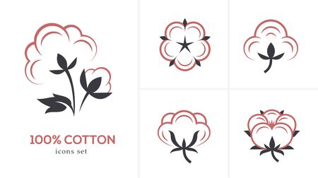 Linear cotton icon set. 向量圖像