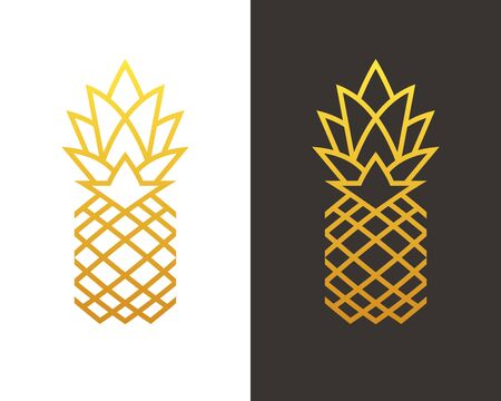 Golden linear pineapple symbol. 向量圖像