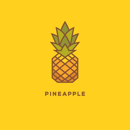 Bright colorful pineapple geometric logo. Tropical summer fruit symbol on yellow background. 向量圖像