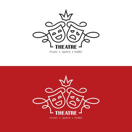 Mono line illustration with tragedy and comedy masks. Theatre or drama school linear logo, symbol, emblem.