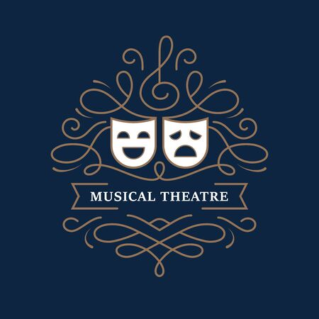 Musical theatre mono line design with comedy and tragedy masks. Modern drama school banner, poster, emblem, label.