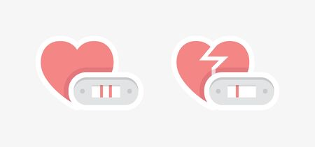 Positive and negative pregnancy test symbols with happy and unhappy hearts. Fertility and infertility design concept. 向量圖像