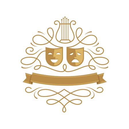 Theatre emblem with comedy and tragedy masks