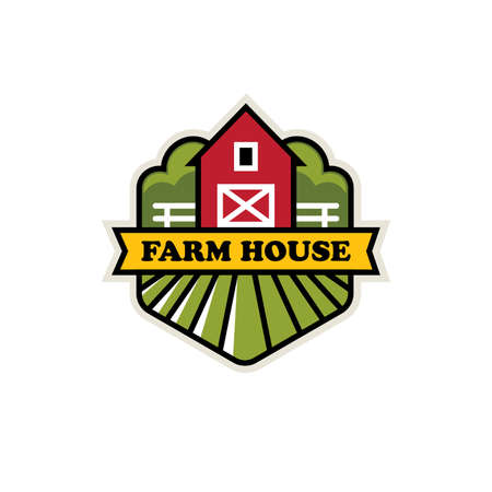 Natural farming, organic farm, ranch vector  emblem or label design with red barn, field and fence.