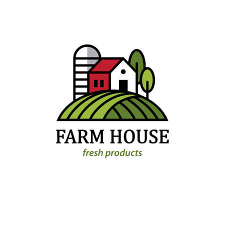 Agriculture, natural farming, organic farm  with farmhouse and silo.