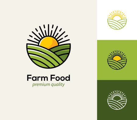 Agriculture, farming  with field and sun. Natural and organic farm food icon, symbol.