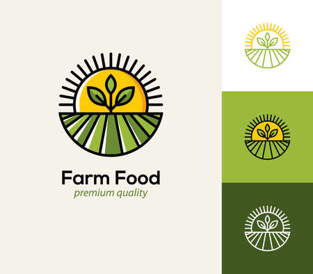Agriculture  with farm field, plant and sun. Natural and organic farming icon, symbol.