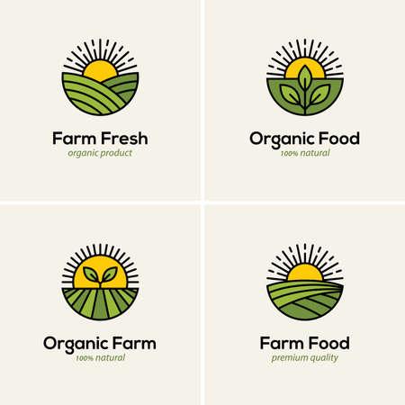 Agriculture and farming emblem set. Organic farm, natural food icon, symbol, emblem, badge.