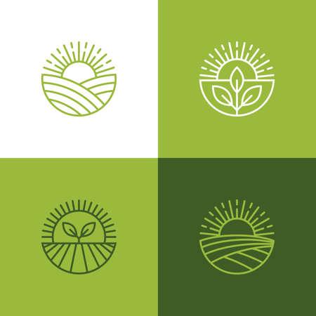 Agriculture and farming linear emblem set. Mono line farm food icon, symbol, emblem or badge design.