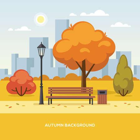Autumn city park flat colorful illustration.