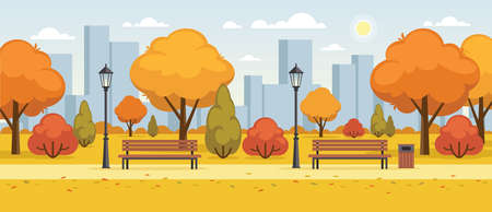 Autumn city park flat illustration. Fall street outdoor panoramic view. Colorful cityscape horizontal banner or background.