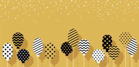 Birthday party background with abstract balloons in black, white and golden colors. Horizontal banner for holiday celebration, festive, event. 向量圖像