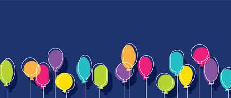 Birthday party background with abstract colorful balloons. Horizontal banner for holiday celebration, festive, event. Minimalist design. 向量圖像