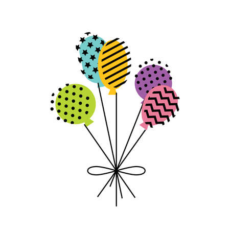 Bunch of colorful balloons with geometric patterns. Birthday party, Anniversary celebration banner or greeting card minimalist design.