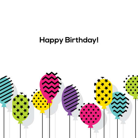 Colorful background with balloons in flat style. Birthday, Anniversary greeting card or banner design.