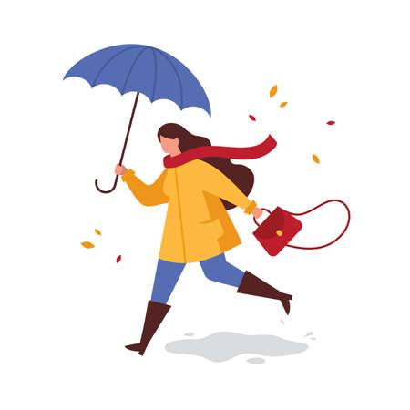 Girl with umbrella in a yellow raincoat running from the rain. Autumn outdoor walk in rainy weather. Vector flat illustration.