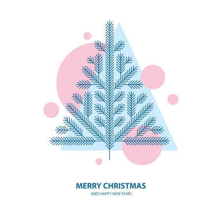 Christmas tree, spruce, pine vector illustration in abstract geometric style. Winter holidays greeting card or banner design. Illusztráció