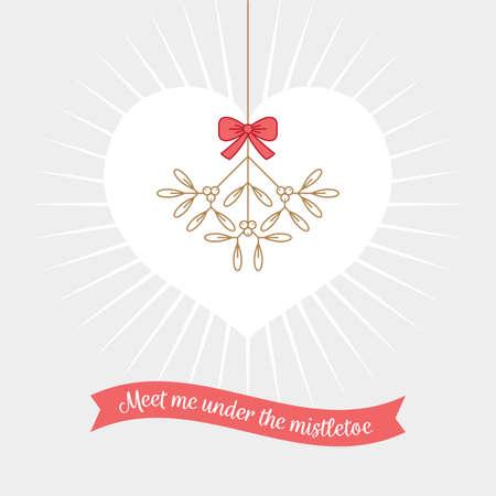 Meet me under the mistletoe. Romantic Christmas greeting card or banner design. Winter plant vector illustration.