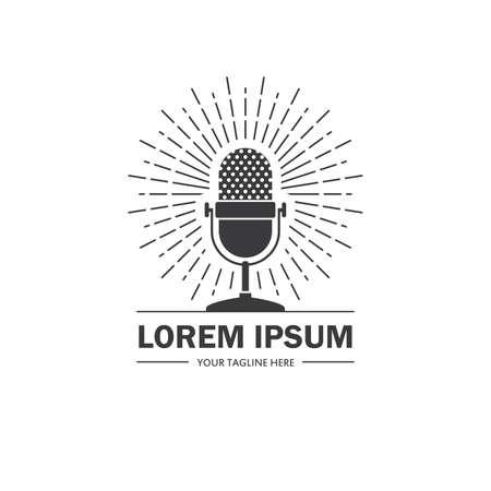 Podcast or radio with retro microphone icon. Music, audio, sound, broadcasting symbol, emblem, badge.