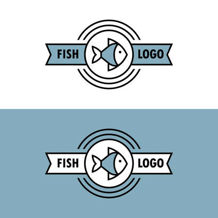 Seafood linear  with fish icon and ribbon. Round emblem, label, badge design in vector.