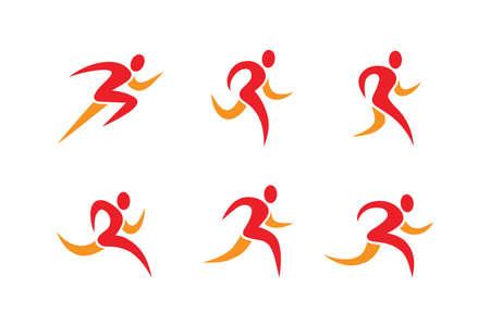 Running people icons and symbols. Sports club, athletics, fitness, dancing school  design element. Illusztráció