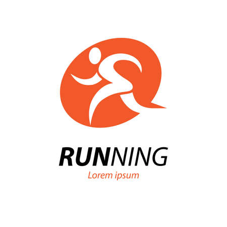 Running man  . Abstract runner silhouette, athlete icon.
