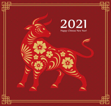 Chinese 2021 New Year greeting card or banner design with bull illustration. Oriental ox zodiac symbol with traditional asian pattern and frame. Векторная Иллюстрация