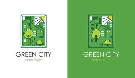 Green cityscape vector illustration. Eco friendly house, apartment building construction concept. City real estate logo. Illusztráció