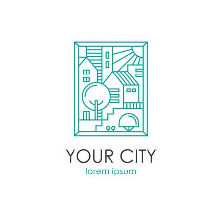 Cityscape linear vector illustration. Real estate, apartment building construction, city skyline logo. Illusztráció