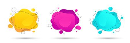 Abstract colorful fluid, liquid shapes set. Modern background for  social media banner or presentation. Illusztráció