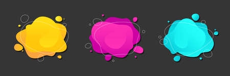 Abstract colorful fluid shapes set. Liquid blot, stain, splatter. Modern background for   banner or presentation.