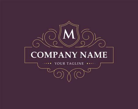 Luxury , monogram in vintage linear style.
