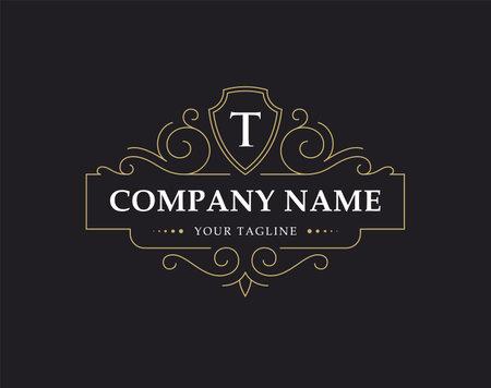 Luxury logo, monogram in vintage linear style.