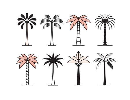 Graphic palm tree icon, logo set.