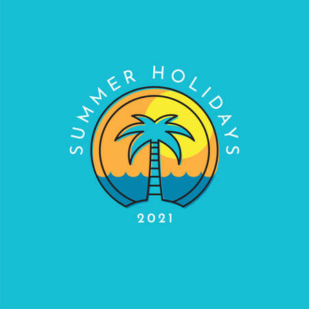 Summer holidays logo with a palm tree.