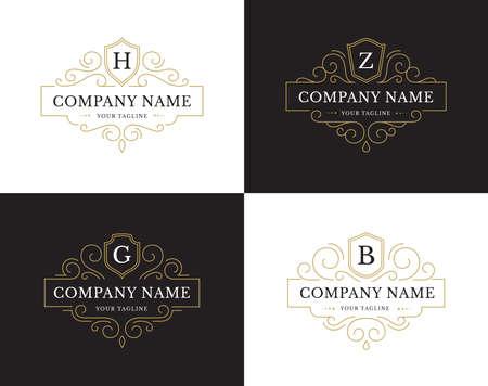 Set of four luxury logo in vintage style.